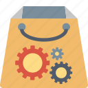 bag, buy, gears, marketing, shopping, solutions, technology icon
