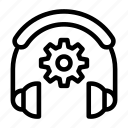 cogwheel, headphone, services, setting, support