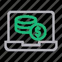 computer, dollar, laptop, pay, saving icon
