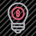 bulb, creative, dollar, idea, light icon