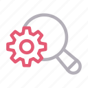 cogwheel, digital, marketing, search, setting icon