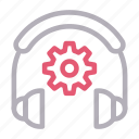cogwheel, headphone, services, setting, support icon
