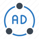 ads, advertisement, connection, network, sharing icon