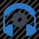 cogwheel, headphone, services, setting, support icon