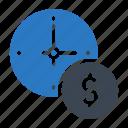 deadline, dollar, schedule, time, watch icon