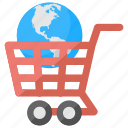 ecommerce, global market, global shopping, international shopping, online worldwide shopping icon