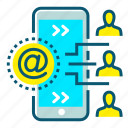 communication, connection, contacts, email, marketing, message, mobile icon