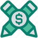 accounts, banking, digital marketing, dollar, dollar sign, lead pencils, pencils icon