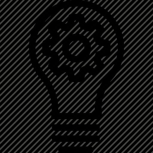 bulb, cog, creativity, idea, innovation icon