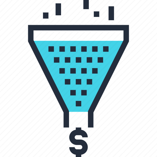 cone, conversion, funnel, marketing, money, sales, traffic icon
