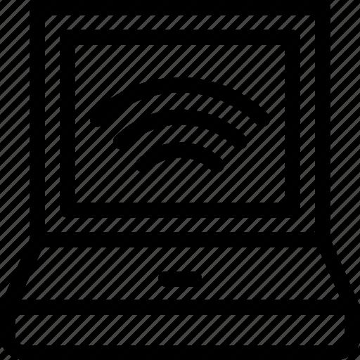 internet, laptop, wifi, wifi signals, wireless icon
