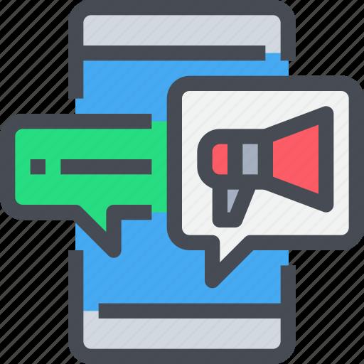 advertising, business, marketing, megaphone, online, seo, smartphone icon