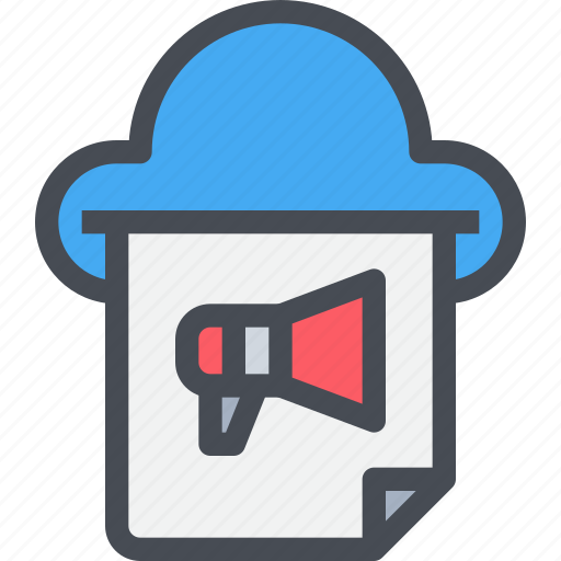 advertising, business, clound, megaphone, network icon