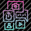 digital marketing, media, share, social, social media, upload, video icon