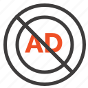 ad, advertisement, advertising, block icon