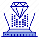 diamond, hologram, projection, technology icon