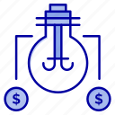 bulb, dollar, idea, solution icon