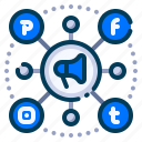 business, advertising, marketing, digital, promotion, connection, social media icon