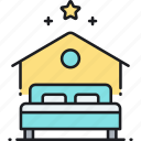 accommodation, airbnb, bed, home, house, housing icon