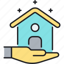 asset, home, house, house sitting, property, real estate, sitting icon