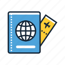 document, files, holiday, transport, travel, vacation, visa icon