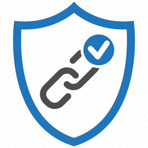 check, link, security, seo, shield icon
