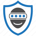 encryption, faceprint, firewall, guard, security, shield icon