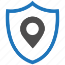 encryption, firewall, guard, location, security, shield icon