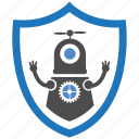 encryption, firewall, guard, robotic, security, shield icon