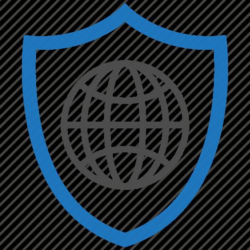 encryption, firewall, guard, security, shield, world icon
