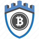 bitcoin, castle, encryption, firewall, guard, security, shield icon