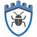 bug, castle, encryption, firewall, guard, security, shield icon