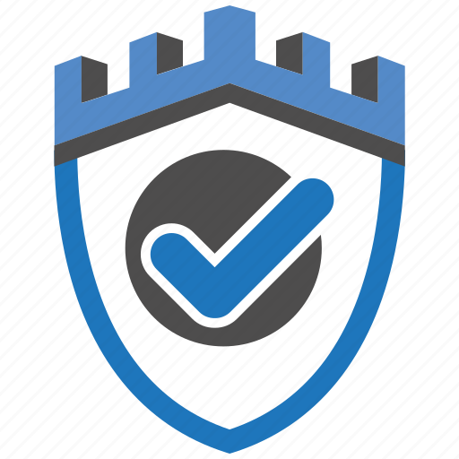 castle, check, encryption, firewall, guard, security, shield icon