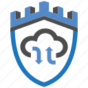 castle, cloud, encryption, firewall, guard, security, shield icon