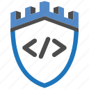 castle, code, encryption, firewall, guard, security, shield icon