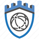 castle, connect, encryption, firewall, guard, security, shield icon