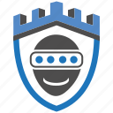 castle, encryption, faceprint, firewall, guard, security, shield icon