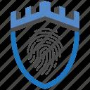castle, encryption, fingerprint, firewall, guard, security, shield icon