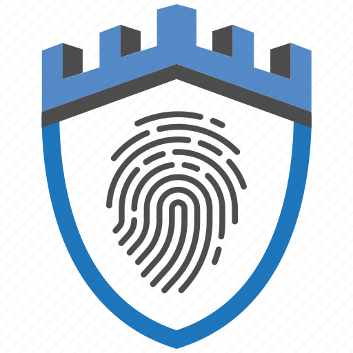 castle, encryption, fingerprint, firewall, guard, security, shield icon