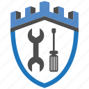 castle, encryption, firewall, fix, guard, security, shield icon