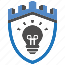 castle, encryption, firewall, guard, idea, security, shield icon