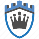 castle, encryption, firewall, guard, king, security, shield icon