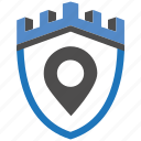castle, encryption, firewall, guard, location, security, shield icon