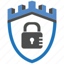 castle, encryption, firewall, guard, lock, security, shield icon