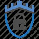 castle, encryption, firewall, guard, lock, security, shield icon