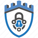 castle, encryption, firewall, lock, security, shield, tech icon