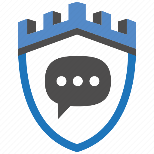 castle, encryption, firewall, guard, message, security, shield icon