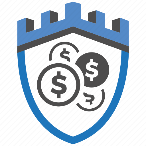 castle, encryption, firewall, guard, money, security, shield icon