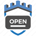 castle, encryption, firewall, guard, open, security, shield icon