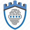 castle, encryption, firewall, guard, password, security, shield icon